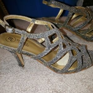 Size 6 silver and gold heels